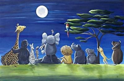 Meerkat Painting - Midnight Safari by Tracie Davis
