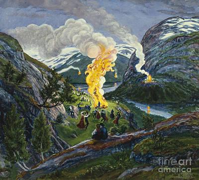 Bonfire Painting - Midsummer Fire by Nikolai Astrup