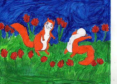 Midsummer Red Squirrels Print by Frances Garry