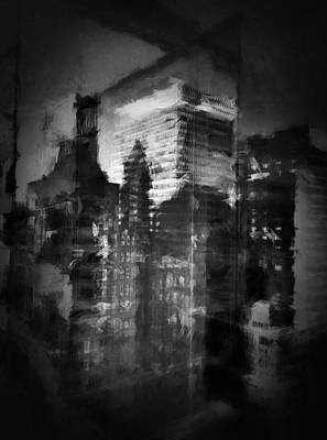 Nyc Digital Art - Midtown Black And White by H James Hoff