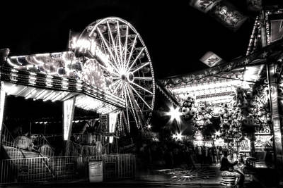 Carnival Photograph - Midway Attractions In Black And White by Mark Andrew Thomas