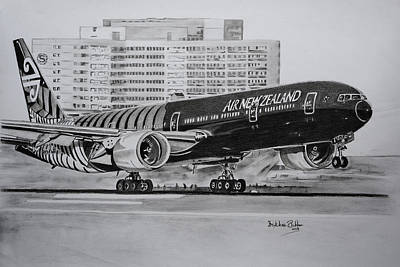 Airlines Drawing - Mighty All Black by Dr Frikkie Bekker