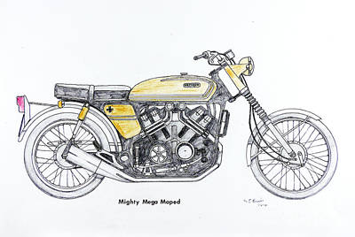 Mighty Mega Moped Print by Stephen Brooks