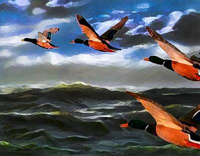 Wild Ducks Digital Art - Migration Of Wild Ducks On Digital Art by Mario Perez