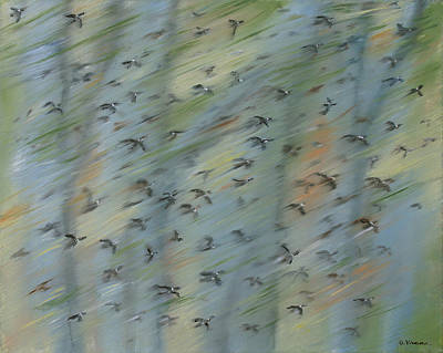 Flock Of Bird Painting - Migratory Geese Moon April by Ethel Vrana