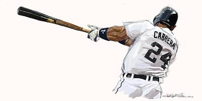 Detroit Tigers Art Painting - Miguel Cabrera Mash by Chris Ross