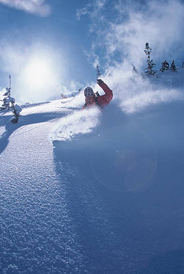 Mike Carving Fresh Snow In Big Print by Howie Garber
