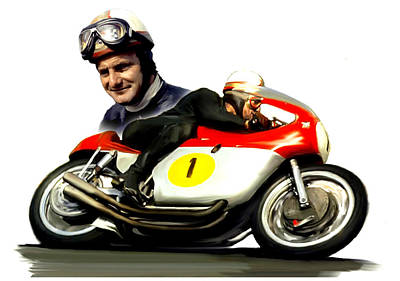 Mike The Bike  Mike Hailwood Print by Iconic Images Art Gallery David Pucciarelli