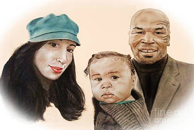 Boxing Drawing - Mike Tyson And Family Altered Version From The One I Gave Him by Jim Fitzpatrick