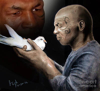 Pigeon Drawing - Mike Tyson And Pigeon II by Jim Fitzpatrick