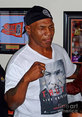 Drawing Photograph - Mike Tyson At Mancave Memorabilia  by Jim Fitzpatrick