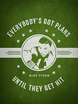 Mike Tyson - Green Print by Aged Pixel