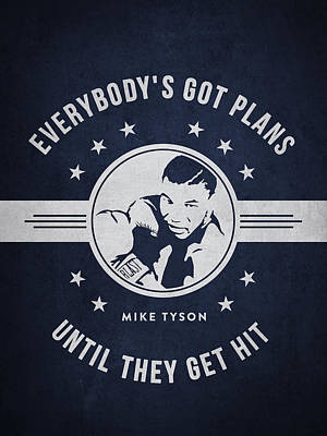 Heavyweight Drawing - Mike Tyson - Navy Blue by Aged Pixel