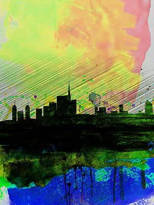 European City Digital Art - Milan Watercolor Skyline 2 by Naxart Studio