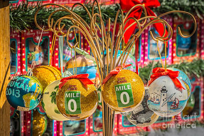 Mile Marker 0 Christmas Decorations Key West 2 - Hdr Style Print by Ian Monk
