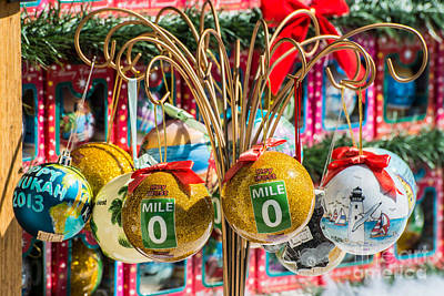 Mile Marker 0 Christmas Decorations Key West 2 Print by Ian Monk