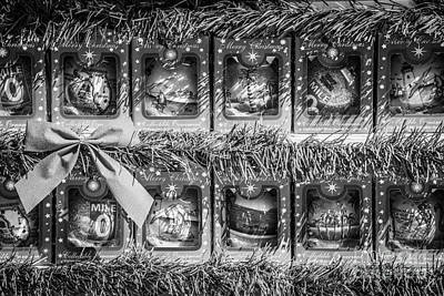 Mile Marker 0 Christmas Decorations Key West 4 - Black And White Print by Ian Monk