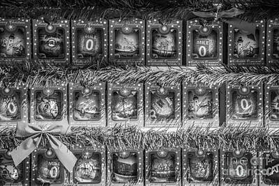 Mile Marker 0 Christmas Decorations Key West - Black And White Print by Ian Monk