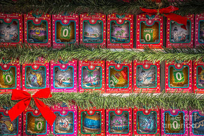Mile Marker 0 Christmas Decorations Key West - Hdr Style Print by Ian Monk