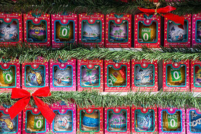 Mile Marker 0 Christmas Decorations Key West Print by Ian Monk