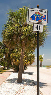 Mile Marker Zero At Pass-a-grille, St Print by Panoramic Images