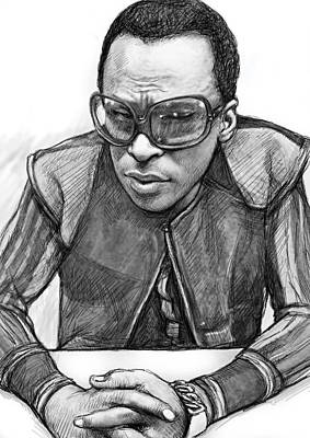 Miles Davis Art Drawing Sketch Portrait Print by Kim Wang