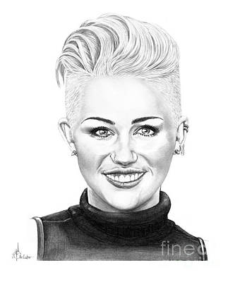 Famous People Drawing - Miley Cyrus New Look by Murphy Elliott