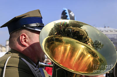 Cracow Photograph - military Brass band by Vladi Alon
