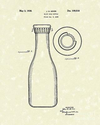 Milk Drawing - Milk Bottle 1938 Patent Art by Prior Art Design