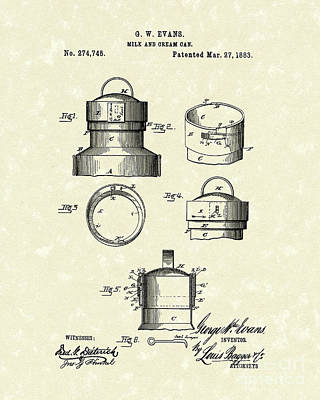 Milk Drawing - Milk Can 1883 Patent Art by Prior Art Design