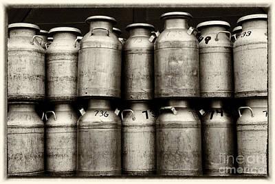 Dairy Farming Photograph - Milk Containers Sepia by Iris Richardson