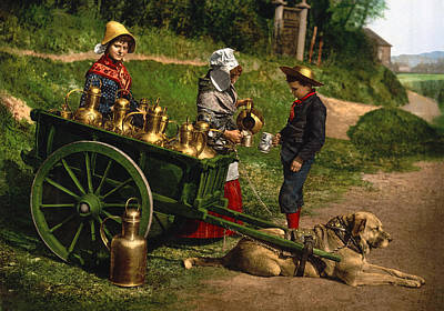 Old Milk Jugs Photograph - Milk Sellers - Brussels Belgium 1895 by Mountain Dreams
