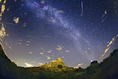 Milky Way And Perseids Meteor Shower Print by Juan Carlos Casado (starryearth.com)
