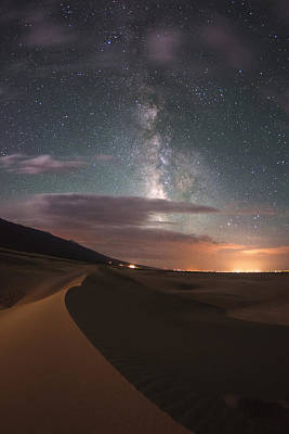 Milky Way Nightscape From Great Sand Dunes National Park Print by Mike Berenson