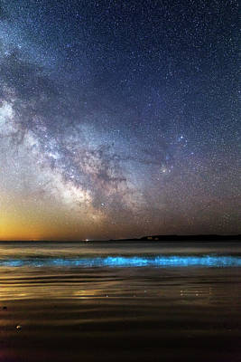 Milky Way Over Bioluminescent Plankton Print by Laurent Laveder