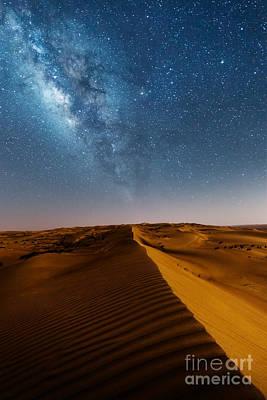 Milky Way Over Desert Dunes Print by Matteo Colombo