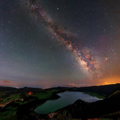 Milky Way Over Lagoa Das Furnas Print by Babak Tafreshi
