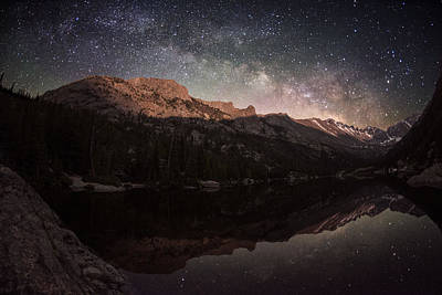 Milky Way Rising Over Longs Peak Print by Mike Berenson