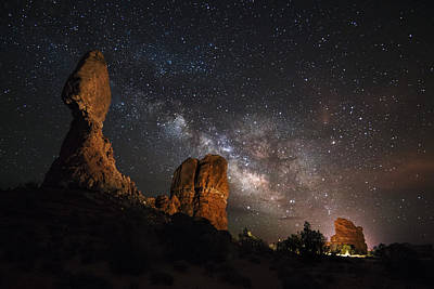Milky Way Suspension At Balanced Rock Print by Mike Berenson
