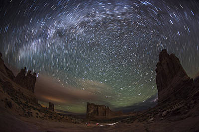 Night Workshop Photograph - Milky Way Swirls Over Arches Park Avenue by Mike Berenson