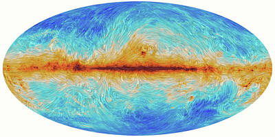 Satellite Image Photograph - Milky Way's Magnetic Field by Planck Collaboration/esa