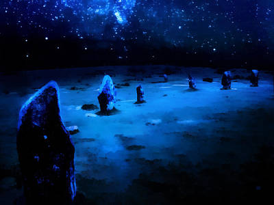 Stellar Painting - Milkyway Over The Hurlers Stone Circle by Menega Sabidussi