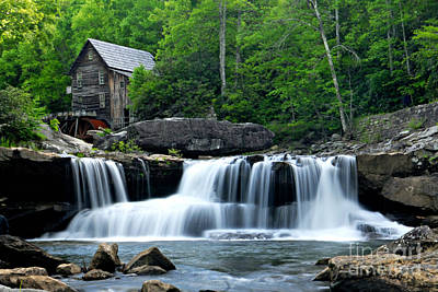 Mill And Waterfall Print by Larry Ricker