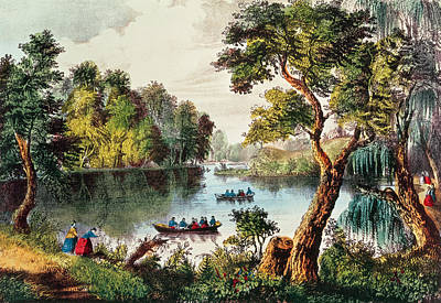 Bodies Of Water Painting - Mill Cove Lake by Currier and Ives