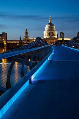 Millenium Bridge Blue Hour I Print by Adam Pender