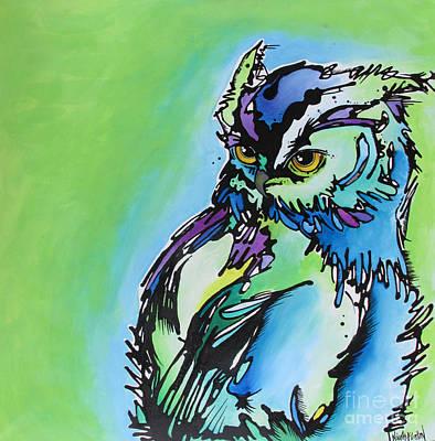 Owl Painting - Million Dollar Man by Nicole Gaitan