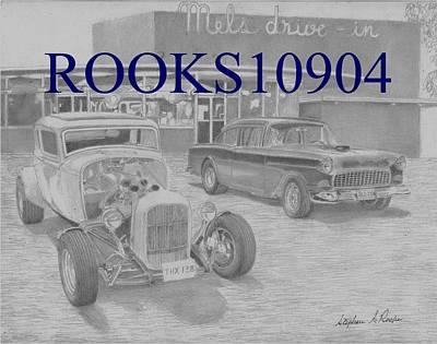 Milner Vs Falfa Classic Car Art Print Original by Stephen Rooks