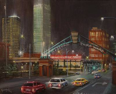 City At Night Painting - Milwaukee 3rd Ward Public Market by Tom Shropshire