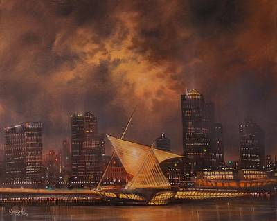 Lake Michigan Painting - Milwaukee Art Museum And Skyline by Tom Shropshire