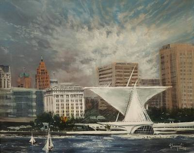 Lakefront Painting - Milwaukee Lakefront by Tom Shropshire